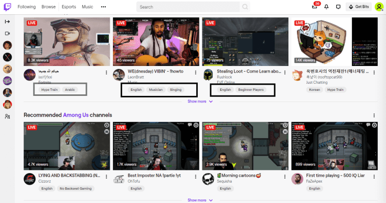 twitch tag on dashboard