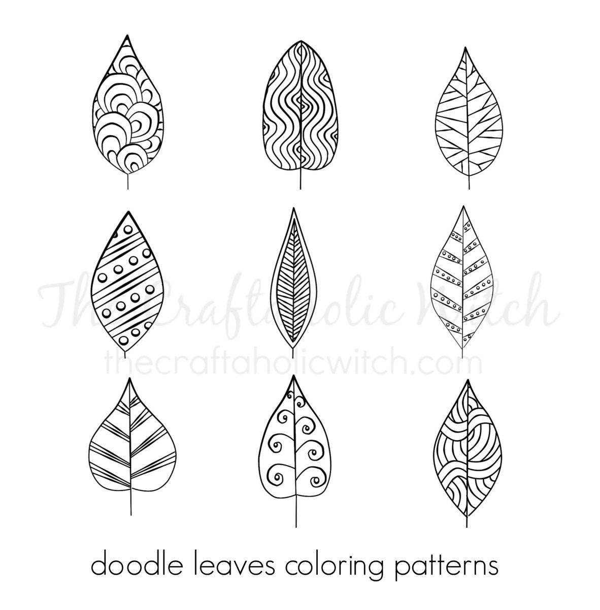 Doodle Leaves Coloring Patterns
