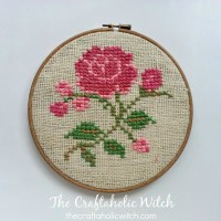 Cross Stitched Rose Wall Art