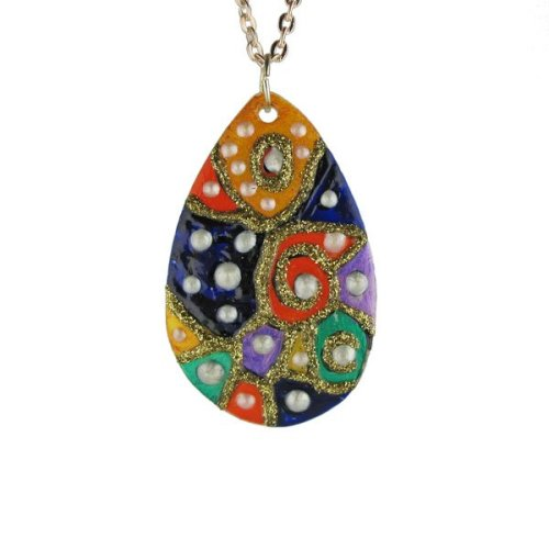 Multi coloured Teardrop Pendant