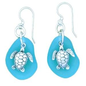 Turtle-Seaglass earrings