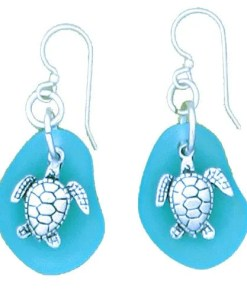Turtle-Seaglass earrings