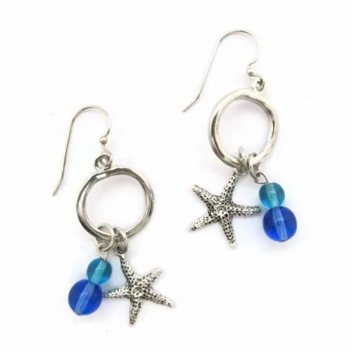 Starfish Hoop with Beads Ea