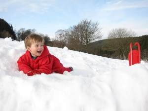 Kids t-shirts Christmas playing in snow