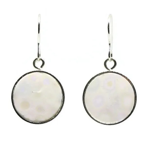 Circular White Mosaic Earrings