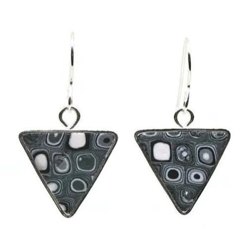 Black flecked Mosaic Earrings