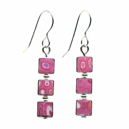 Pink Mosaic Earrings