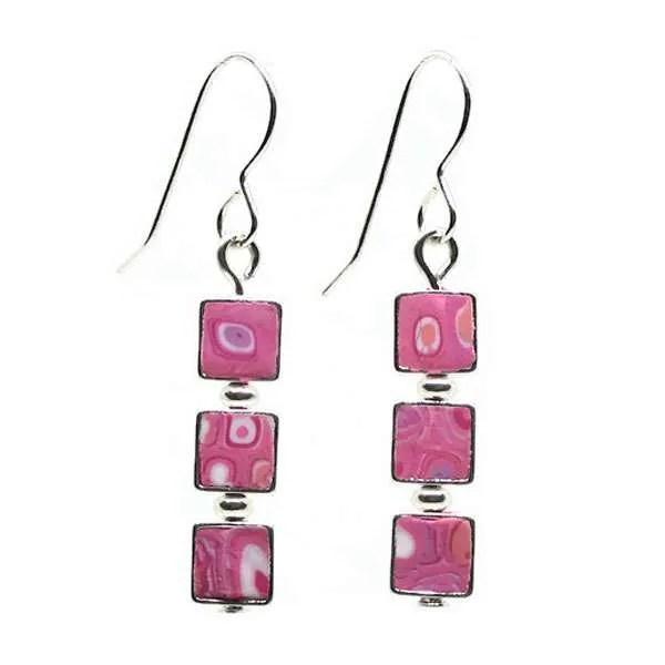 Pink Mosaic Earrings