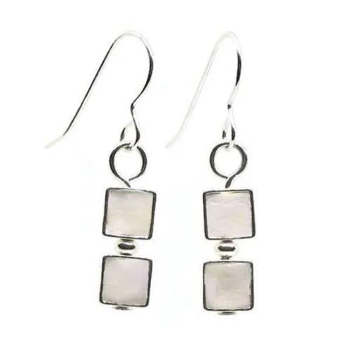 White Mosaic Earrings