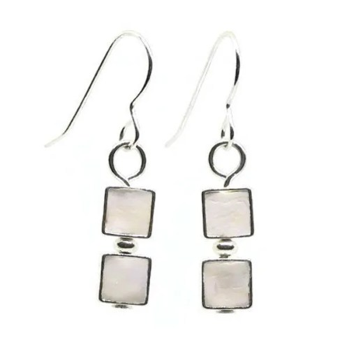 White Mosaic Earrings