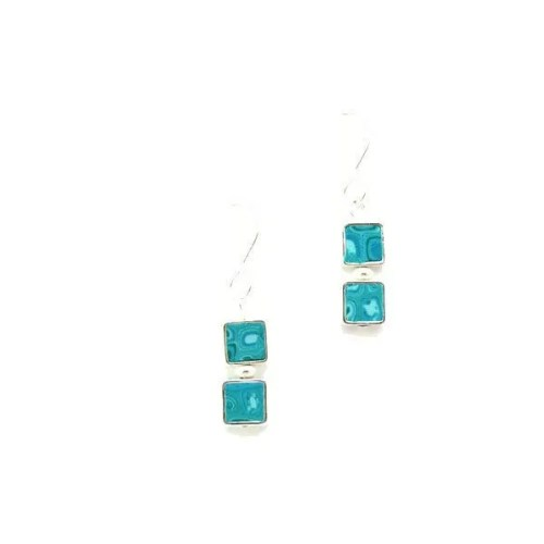 Aqua Mosaic Two Square Earrings
