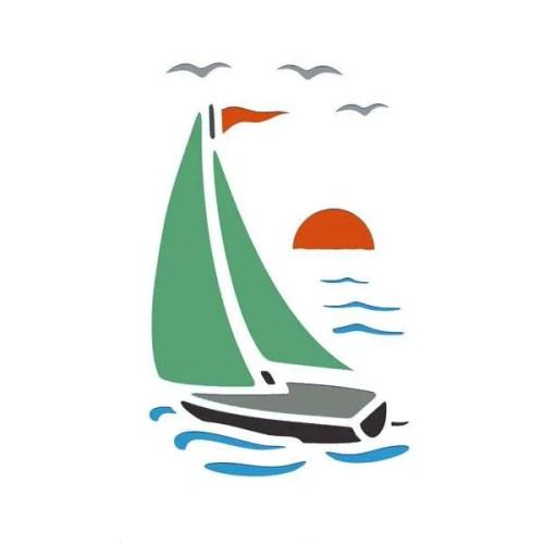 Sailing Boat Stencil