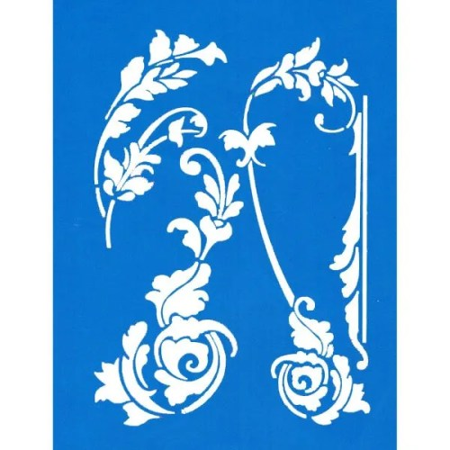 Scroll Leaves Stencil