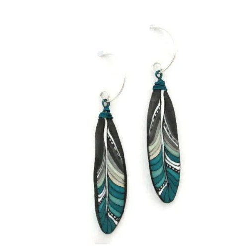 Aqua Mini Feather Earrings