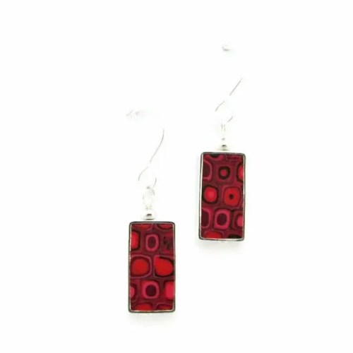 Red Mosaic Earrings