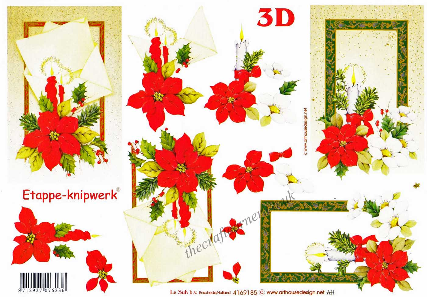 Candles Poinsettia & Christmas Rose Flower Designs 3d