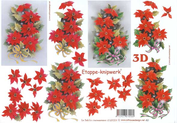 Christmas Flowers 1 Designs 3d Decoupage Sheet