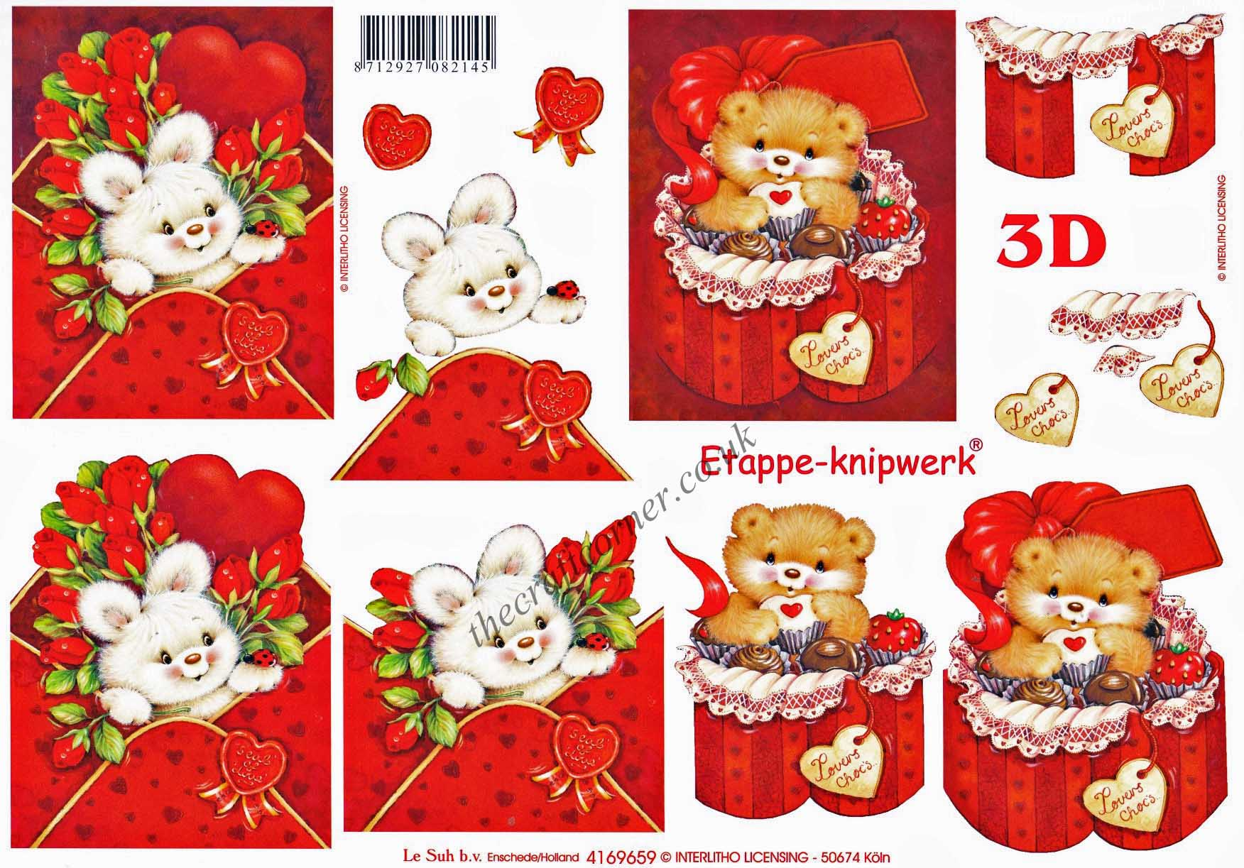 Cute Its For You Teddy Bears With Love Hearts 3d Decoupage