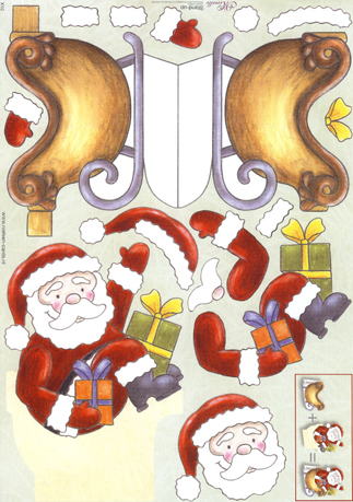 Father Christmas 2 Stand Up 3d Decoupage Sheet