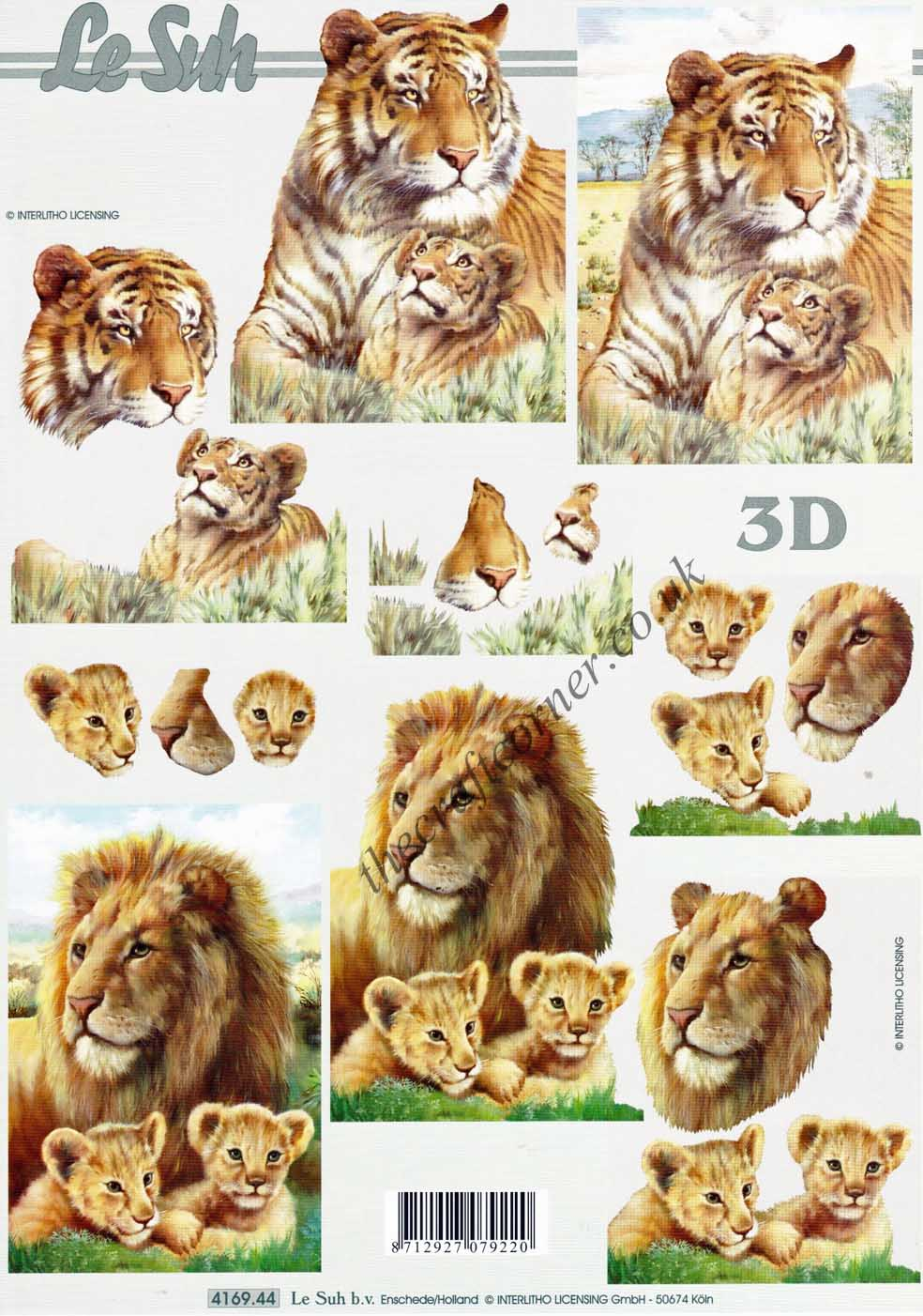 Lion & Tiger Wild Animals 3d Decoupage Craft Sheet