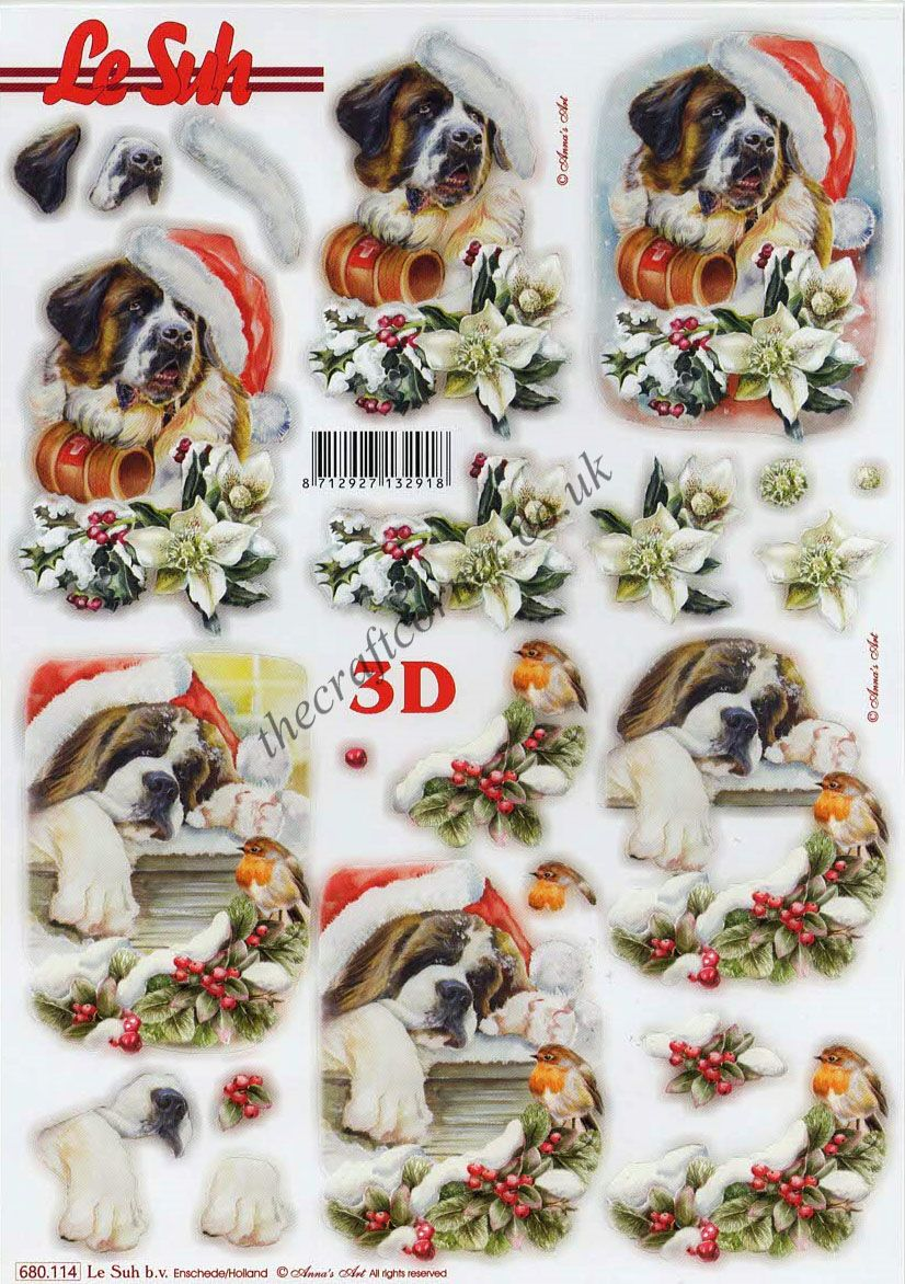 St Bernard Dogs At Christmas Die Cut 3d Decoupage Sheet
