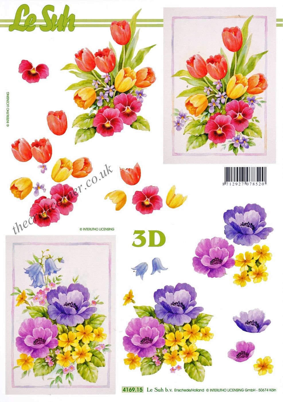 Tulips Amp Pansy Flowers 3d Decoupage Sheet