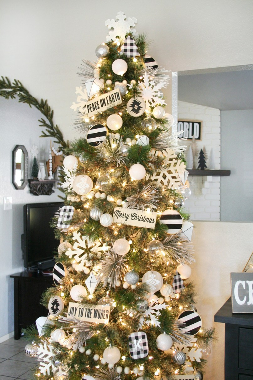 black white christmas tree decor - Skinny Christmas Trees Hobby Lobby