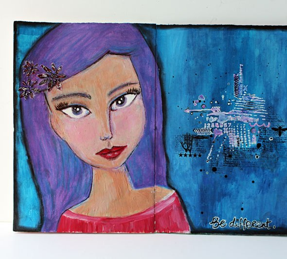 Girl-with-purple-hair-art-journal-pages-for-The-Crafter's-Workshop-by-Yvonne-Yam