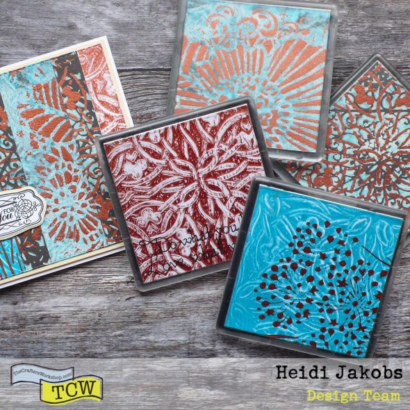 How to use your Gel Press and stencils to create a fun coaster set with matching card