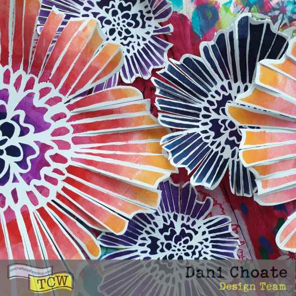 painted paper flowers on art journal page