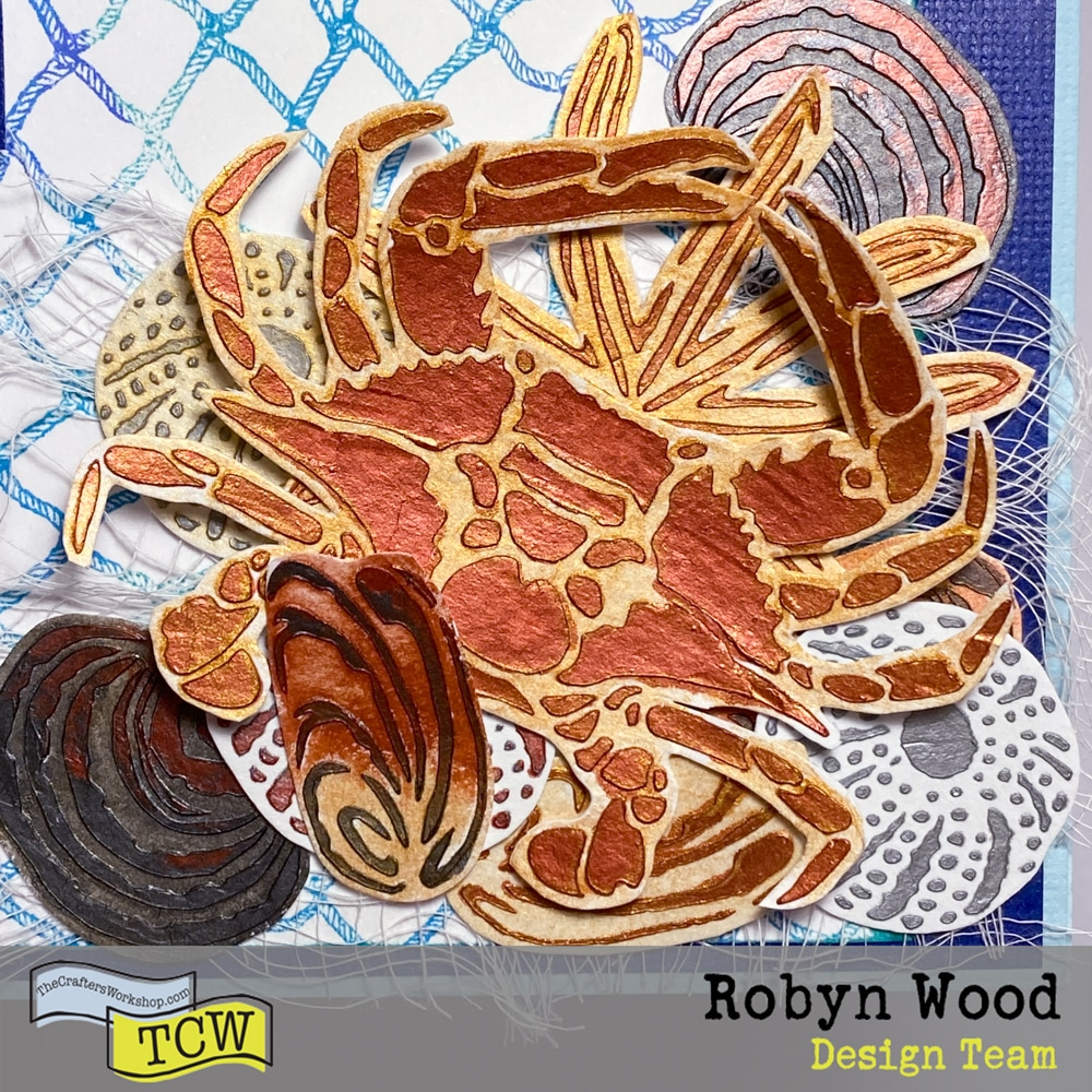 Corner detail of The Crafter's Workshop blog post - Shells by the seaside card – a stencilled card page by Robyn Wood