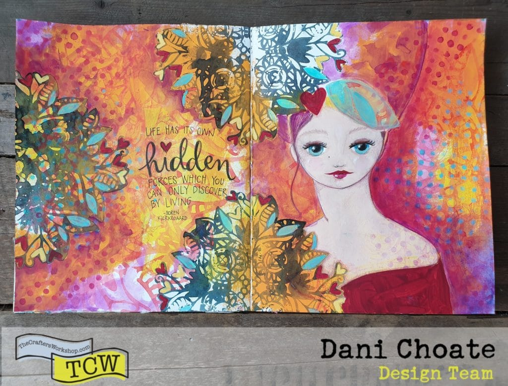 Full page art journal page in orange and reds using TCW829 - Heartful Flower