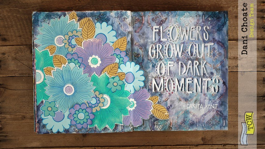 Full page with TCW907, vintage wallpaper flowers and a quote