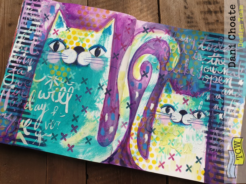 Illustarted Art Journal Page - Cats in purples & Greens