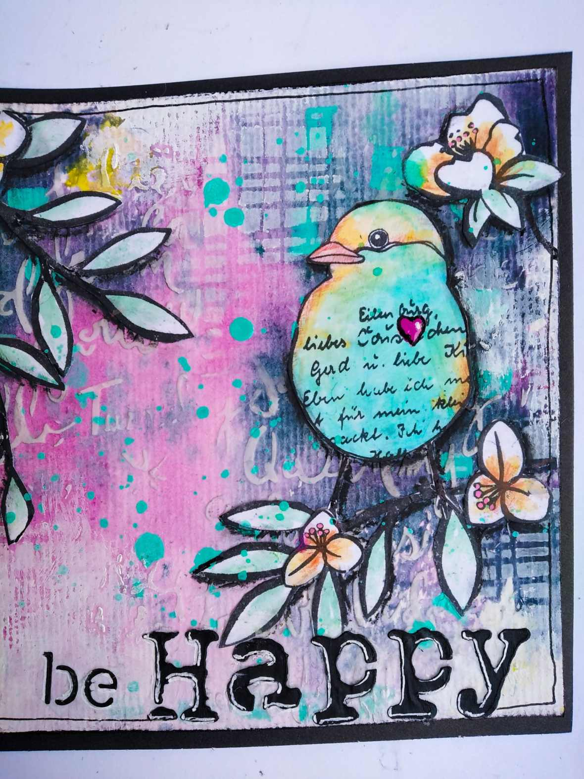 A mixed media project made with acrylic paints, watercolor, acrylic mediums, stencils and Rubber stamps