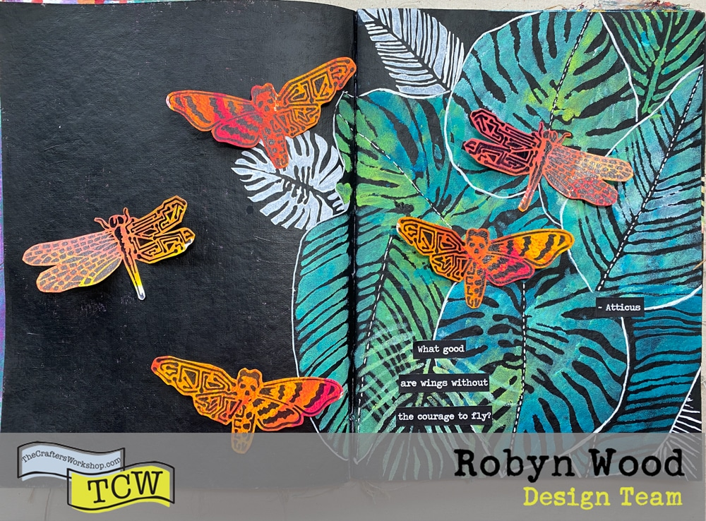 The Crafter's Workshop Blog – Have the courage to fly! – stencilled art journal page by Robyn Wood