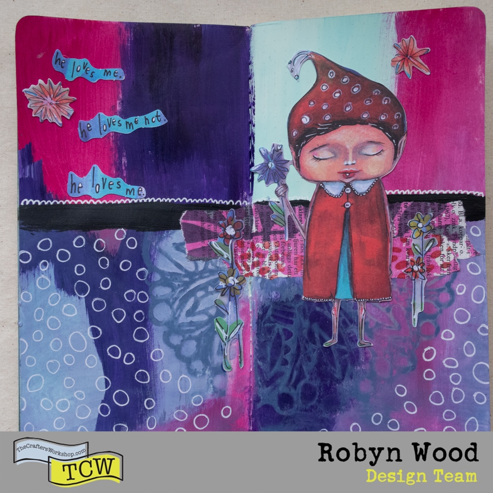 The Crafter's Workshop Blog – He Loves me… – stencilled art journal page by Robyn Wood