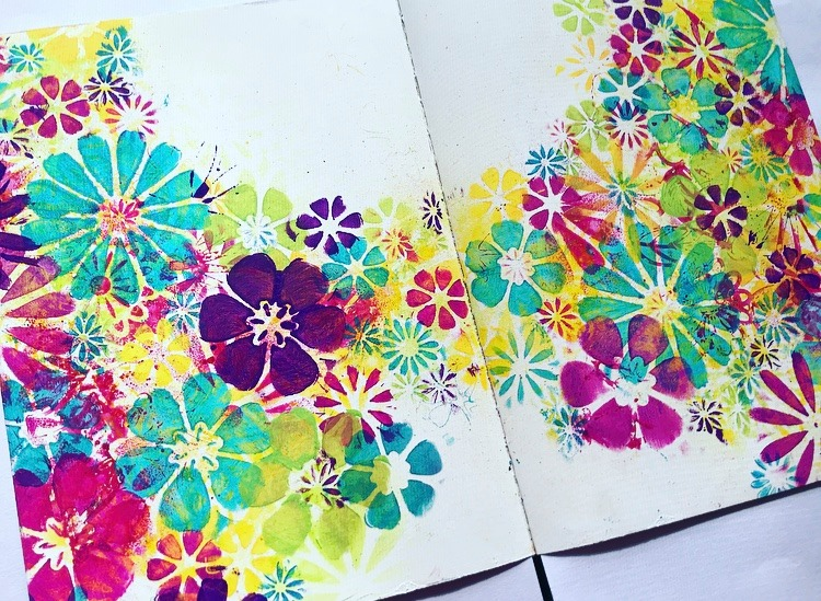 Painted flowers in all different sizes in pink, yellow, lime, aqua and purple. Art Journal