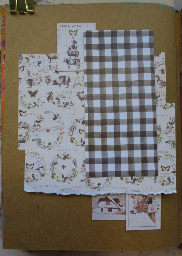 Arranging patterned papers to create background layers