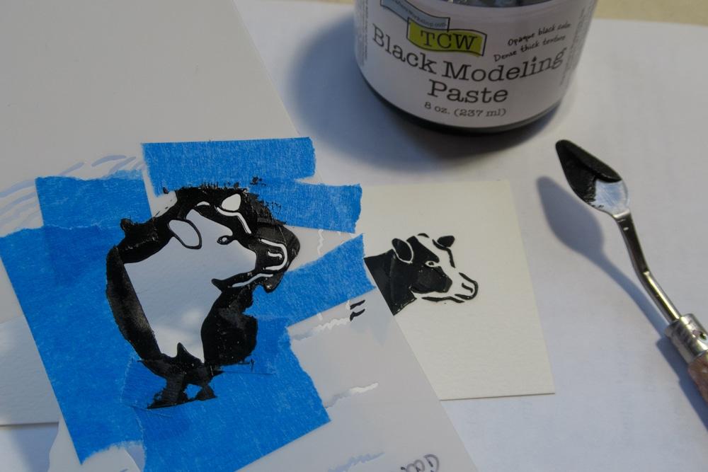 Stenciled image using TCW9009 Black Modeling Paste