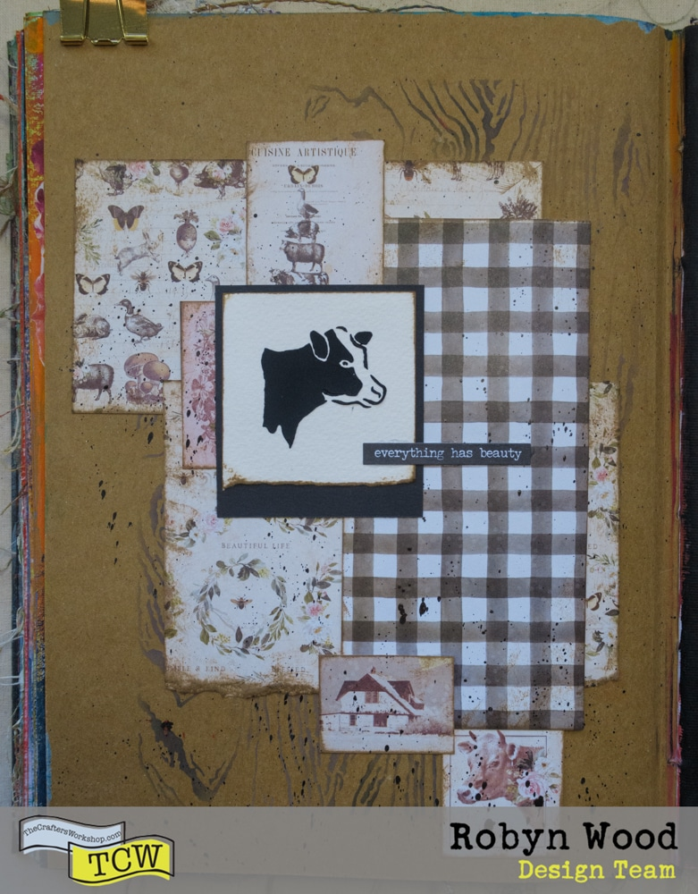 The Crafter's Workshop Blog – Everything has beauty… – stencilled art journal page by Robyn Wood