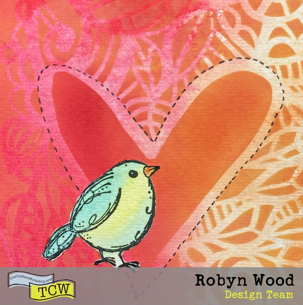 Draw a dotted line around heart shape with fine black pen and add stamped bird image.