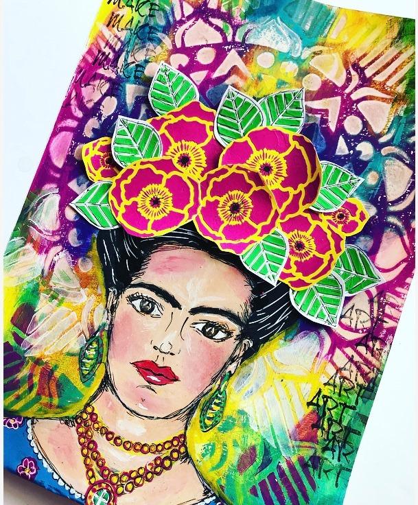 Frida Kahlo Art Journal painted image in bright colors Tammy Klingner, Tambaramba, #tcwstencillove