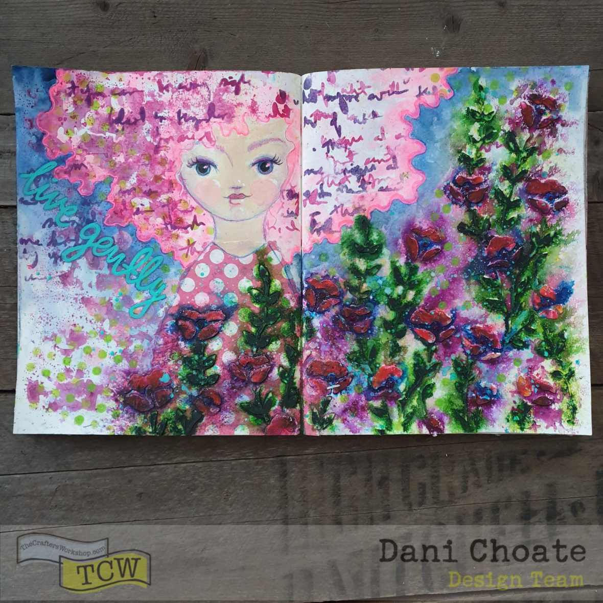 TCW541 Believe Script TCW725 Wild Blooms Art Journal Mixed media