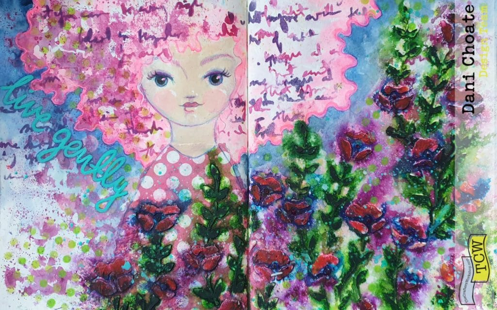 full page art journal mixed media modeling paste TCW725 Wild Blooms