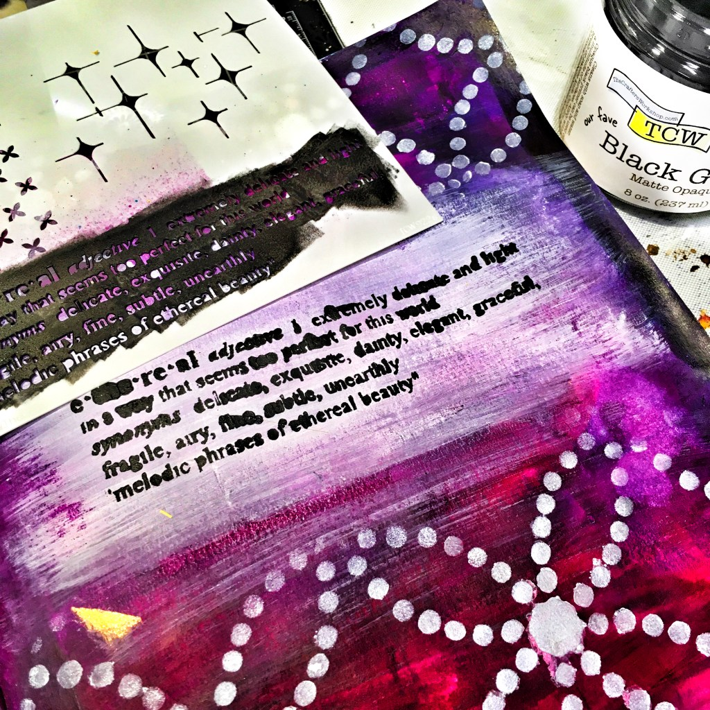 TCW9002 Black Gesso through TCW922 Ethereal Stencil with cosmetic sponge on Ethereal Celestial Art Journal Layout
