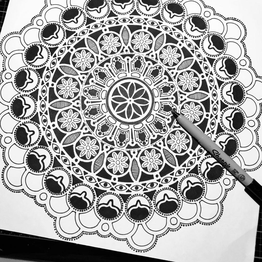 Black and White Mandala drawing through TCW Stencils