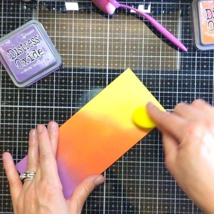 Blend distress oxides over slimline card