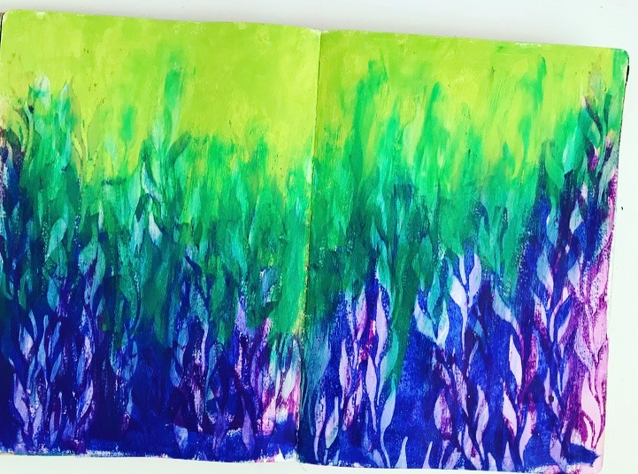 Seaweed or vines in blue, green and purple as a background for an art journal page