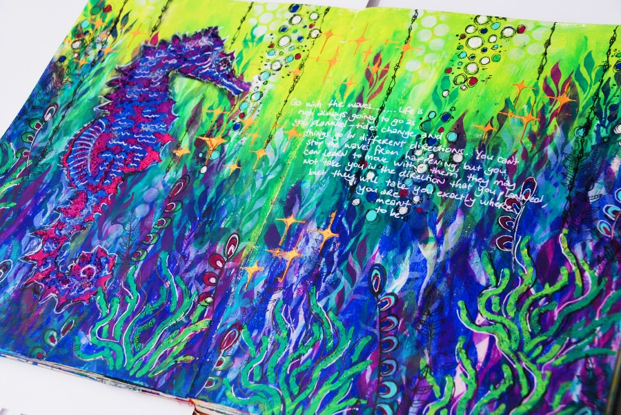 Art Journal page in blues, greens, and purples with an underwater theme #tcwstencillove Tammy Klingner